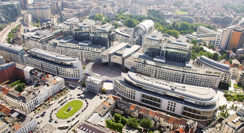 Luchtfoto van het Europees Parlement in Brussel