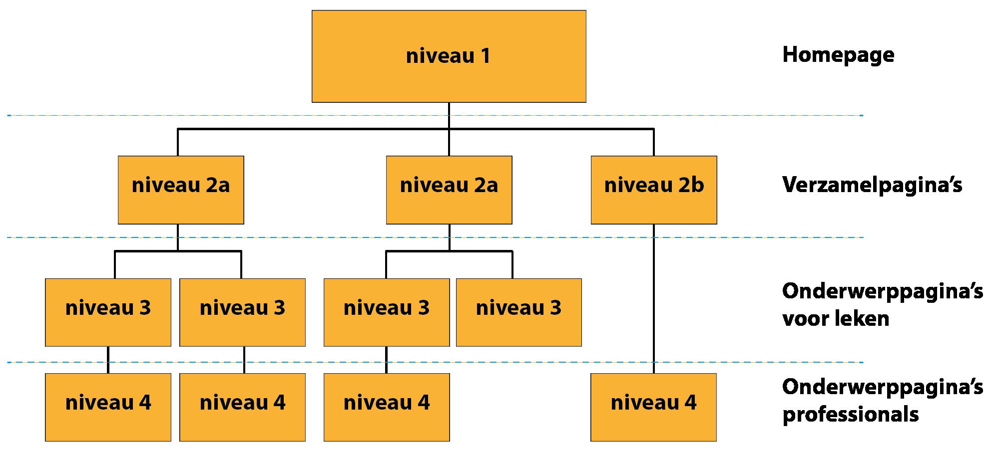Schematisch overzicht van de structuur van de website seksediversiteit.nl